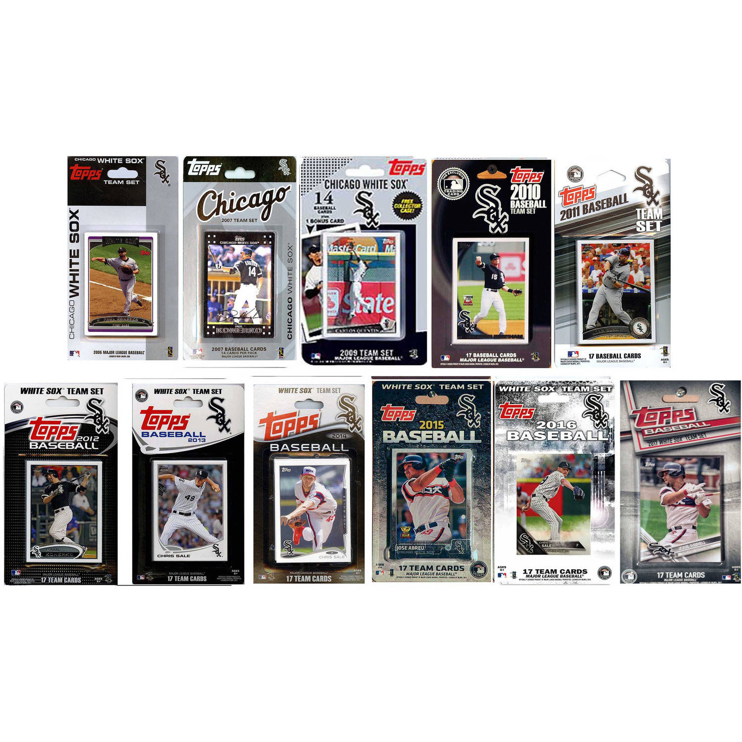 C & I Collectables MLB Chicago White Sox 11 Different Licensed Trading Card Team Sets