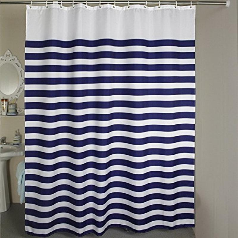 Genial Nautical Stripes Extra Long Shower Curtain 78 X 78 Inches   Blue White By  Welwo