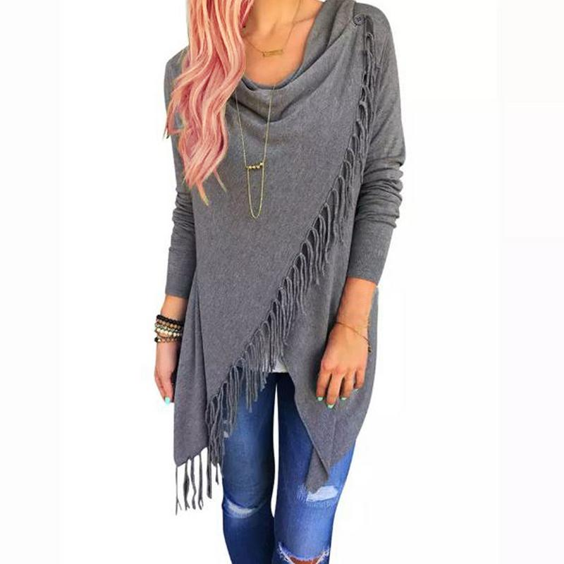 Women's Cardigan Poncho with Tassels by Unbranded