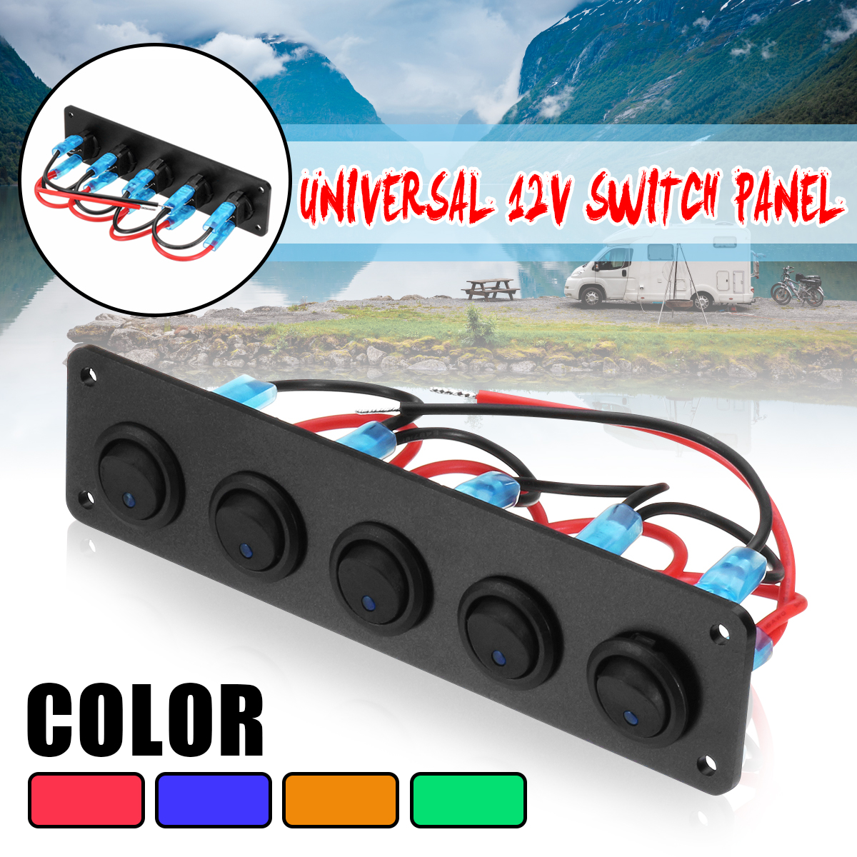 5 Gang ON-OFF Toggle Switch Panel Circuit Breaker Waterproof For Car Marine Boat