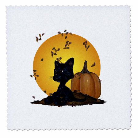 10 Inch Pumpkin - 3dRose Black Cat With Pumpkins And Halloween Moon - Quilt Square, 10 by 10-inch