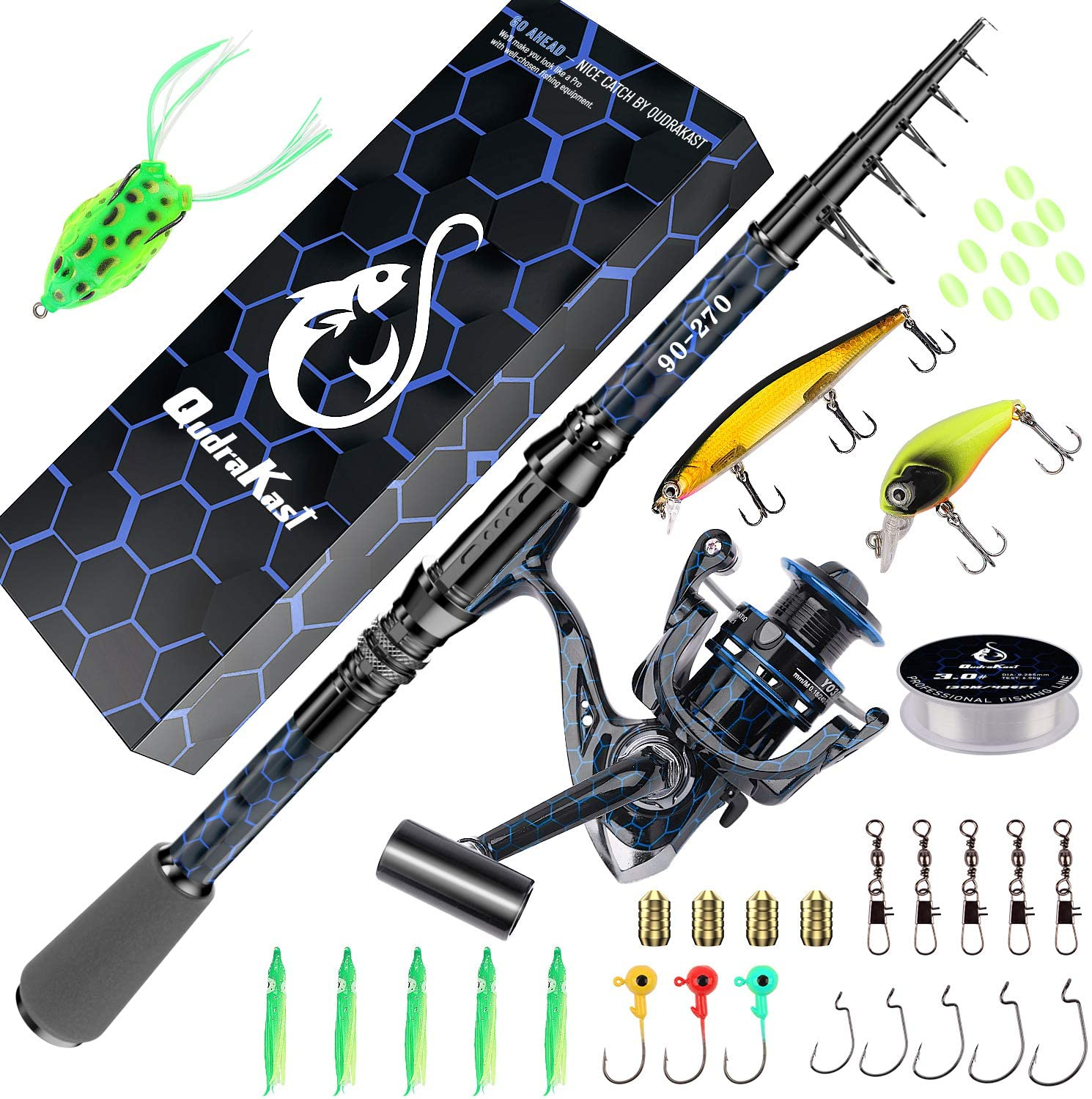 QudraKast Fishing Rod and Reel Combos, Unique Design with X