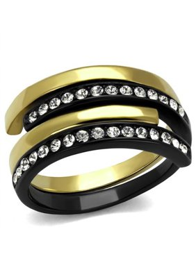 Women's 2 Piece Black & Gold Plated Stainless Steel Crystal Cuff Fashion Ring Size 8