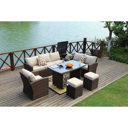 Mulan Brown 7 Piece Outdoor Patio Furniture Conversation Set Garden Rattan Wicker Sofa Dining With Table And Luxury Cushions Lounge