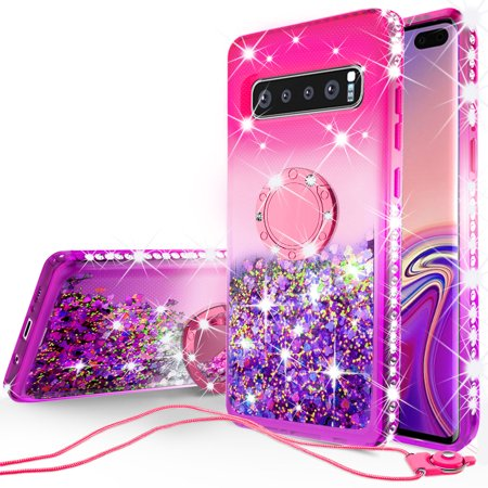 SOGA Rhinestone Liquid Quicksand Cover Cute Girl Phone Case Compatible for Samsung Galaxy S10 Case, with RingStand for Magnetic Car Mounts and Lanyard - Purple / Pink ()