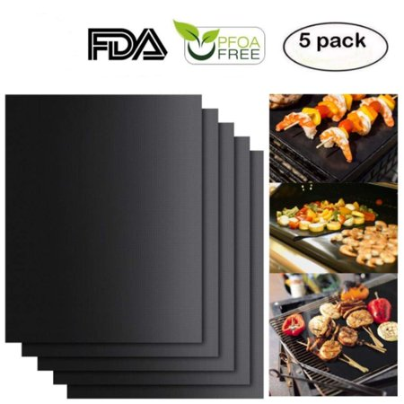 Black Grill Mat Set of 5 - Non-Stick BBQ Grill & Baking Mats - FDA-Approved, Reusable and Easy to Clean - Works on Gas, Charcoal, Electric Grill, I1523