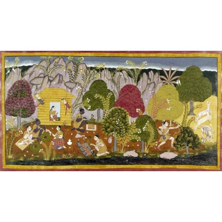 India Ramayana C1650 Nminiature From The Second Book Of The Ramayana From Northern India C1650 Women Eating Off Leaf Plates And Cooking Kebabs While A Man Hunts Deer With A Bow And Arrows Rolled Canva thumbnail