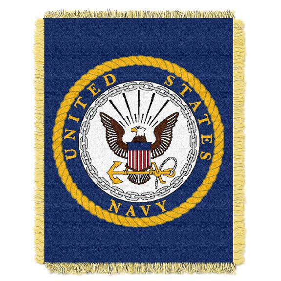 US Navy Jacquard Woven Throw Blanket
