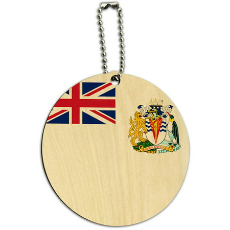 The British Antarctic Territory National Country Flag Round Wood ID Tag Luggage