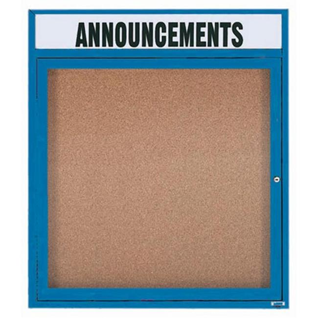 Aarco Products DCC3630RHB 1-Door Bulletin Board with Header - Blue