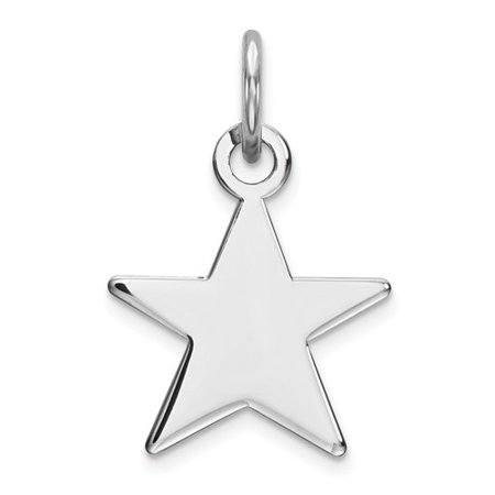 Sterling Silver Engraveable Star Disc Charm (0.5in)