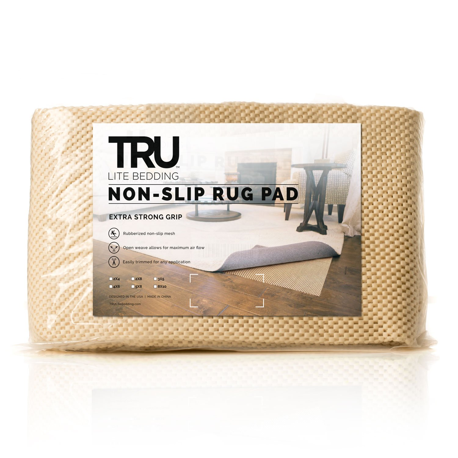 TRU Lite Non-Slip Mat for Area Rugs | Extra Strong Grip Carpet Pad | 2' x 4'