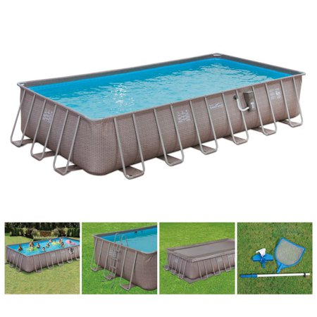 "Summer Waves 24' x 12' x 52"" Above Ground Rectangle Frame Pool Set, Brown Wicker"