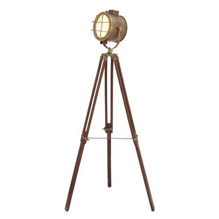 "Ls Metal Floor Lamp - DecMode 28"" x 70"" Tall Industrial Brass & Wood Tripod Floor Lamp w/ Spotlight Metal Cage Shade"
