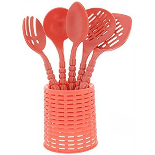 5 Piece Non Stick Plastic Kitchen Cooking Utensils Set   Plastic Spatula  Set   Pasta Server