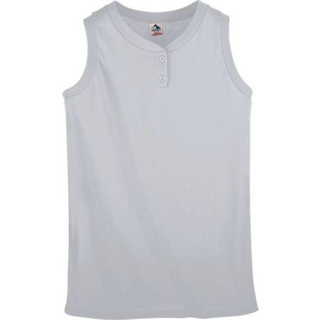 550 Ladies Sleeveless Two Button Softball Jersey ASH (Butterfly Sleeveless Jersey)