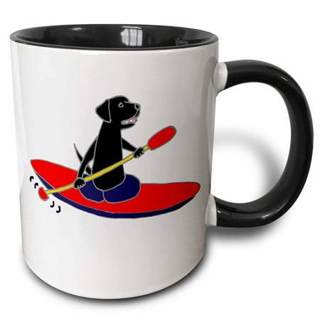 3dRose Funny Black Labrador Retriever Dog is Kayaking - Two Tone Black Mug, - Two Funny Dogs