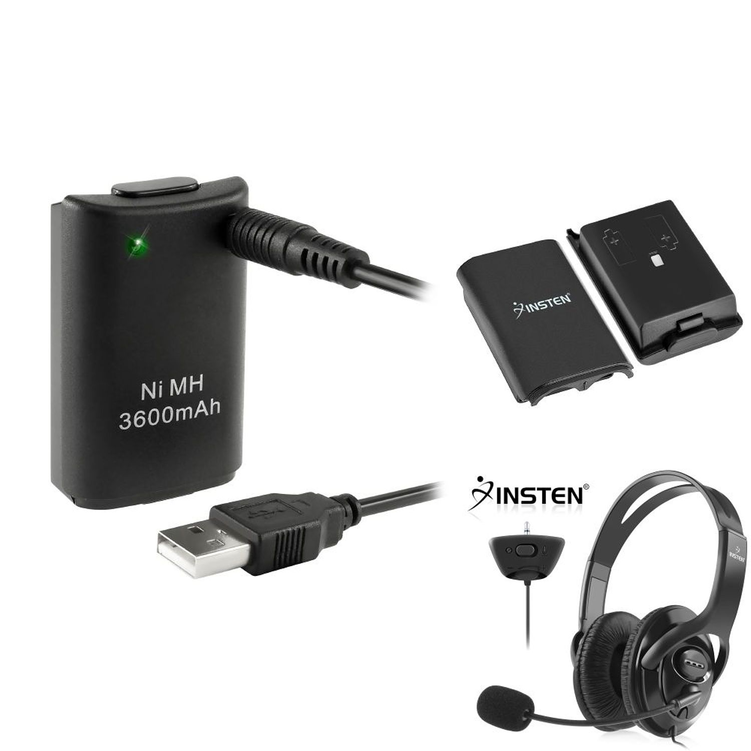 Insten Black Headset + Replacement Battery with USB Cable + Battery Shell For Xbox 360 Live
