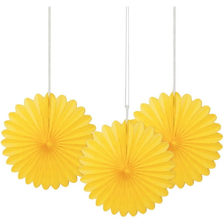 Yellow Tissue Paper Fan Decorations, 6in, 3ct](Chinese Paper Fan)