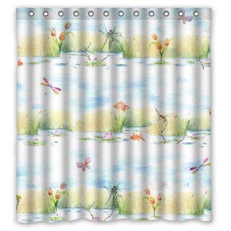 Ganma Cute Dragonfly Shower Curtain Polyester Fabric Bathroom Shower Curtain 66x72