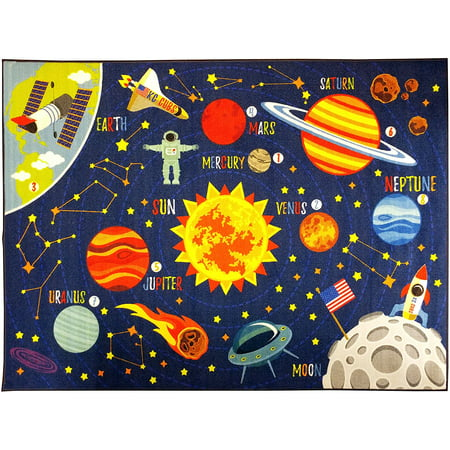 KC CUBS Playtime Collection Outer Space Safari Road Map Educational Learning Area Rug Carpet for Kids and Children Bedrooms and Playroom (3' 3