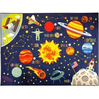 "KC CUBS Playtime Collection Outer Space Safari Road Map Educational Learning Area Rug Carpet for Kids and Children Bedrooms and Playroom (3' 3"" x 4' 7"")"