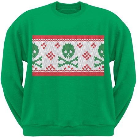 knit skull and crossbones ugly christmas sweater green adult sweatshirt