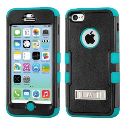 INSTEN Natural Black/Tropical Teal TUFF Hybrid Phone Case Cover w/Stand For APPLE iPhone 5C
