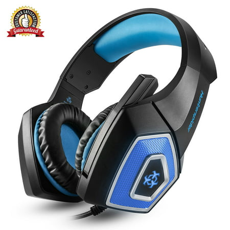 [Newest 2019 Upgraded] Gaming Headset Best for Xbox One, PS4, PC - 7.1 Best Surround Stereo Sound, Noise Cancelling Mic, 3.5mm Soft Breathing Over-Ear Game (Best Noise Cancelling Bluetooth Headset)