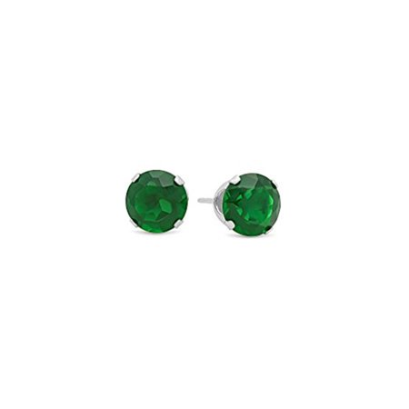 Sterling Silver Round Lab-Created Emerald Gemstone Stud -