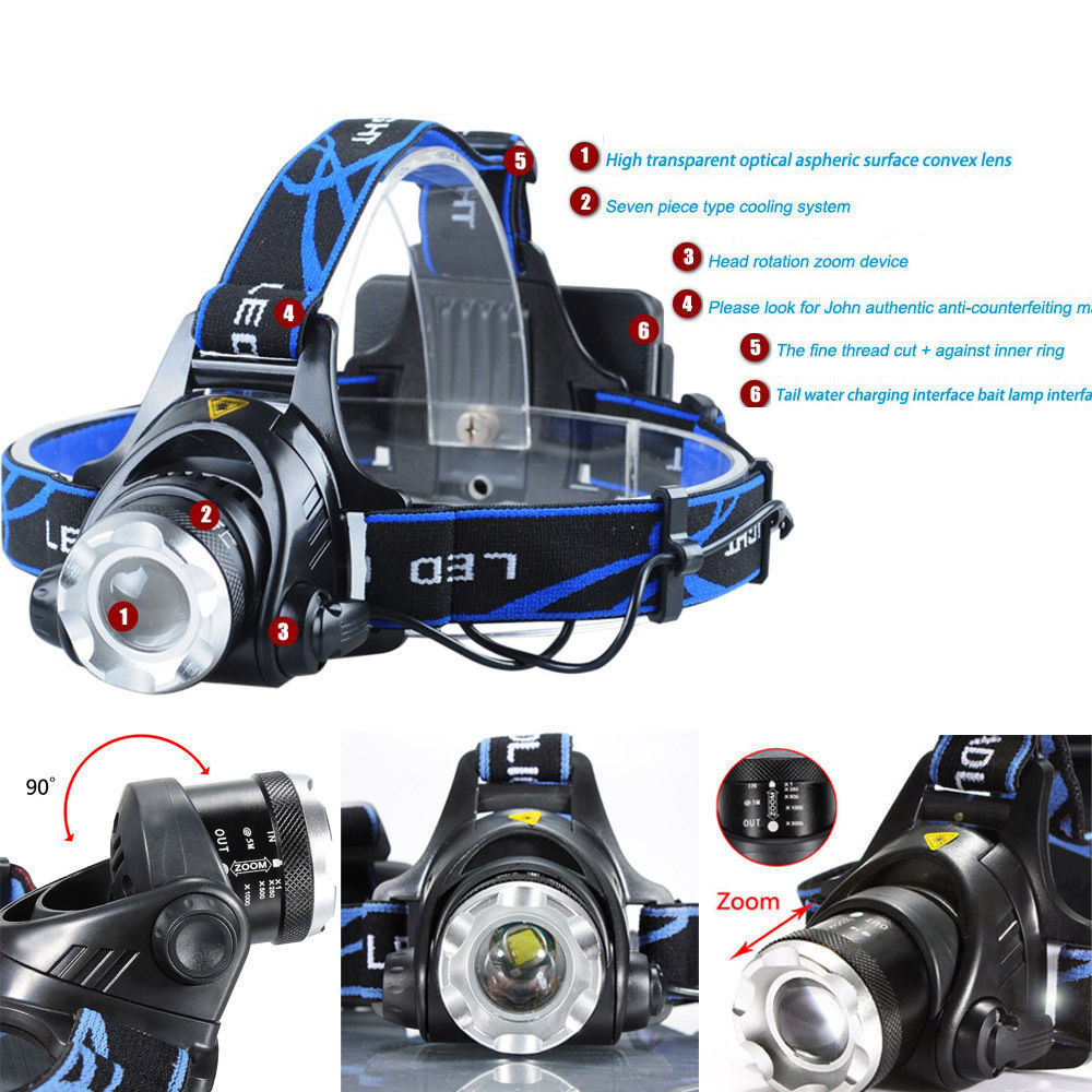 6000Lm XML XM-L T6 LED 3-Modes Rechargeable 18650 Headlamp Headlight Head Torch