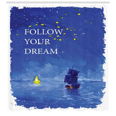 Sailboat Shower Curtain, Follow Your Dream Text Ship Sailing Across the Sea Towards Lighthouse, Fabric Bathroom Set with Hooks, 69W X 70L Inches, Cobalt Blue and Yellow, by Ambesonne ()