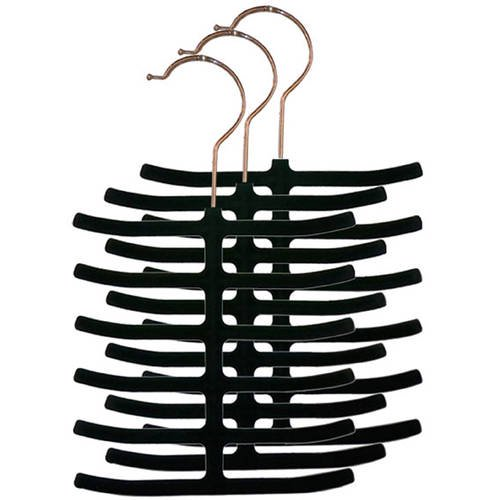 Home Basics Velvet Tie Hanger, Pack of 3, Black