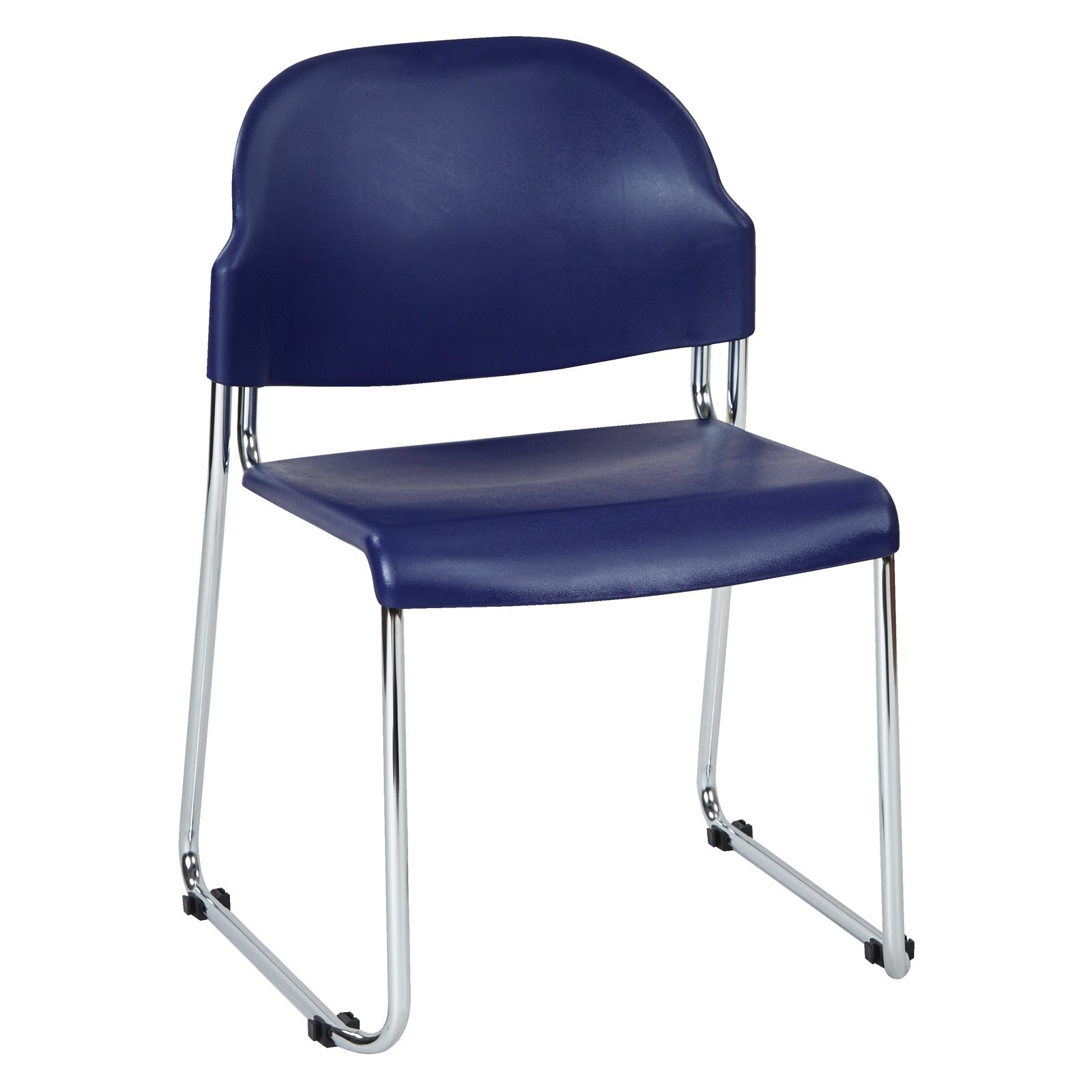 2-Pack Stack Chair with Plastic Seat and Back, Blue