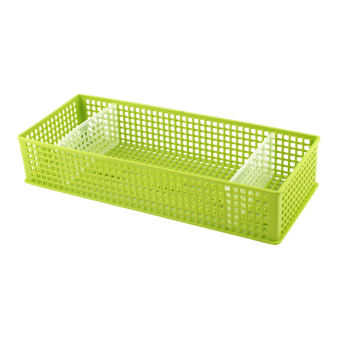 Household Plastic 3 Compartments Storage Sundries Organizer Basket Box Blue