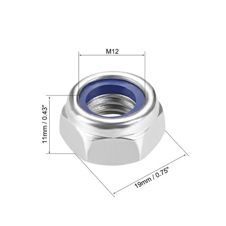 M12 x 1.7mm Nylon Insert Hex Lock Nuts, Carbon Steel White Zinc Plated, 5 Pcs - image 1 of 3