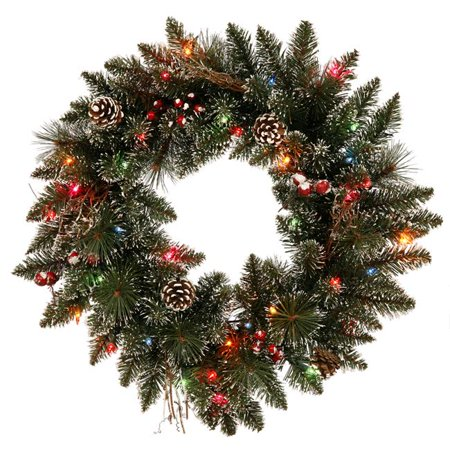 Snow Tip Amp Berry Wreath With Multi Colored Led Lights 24
