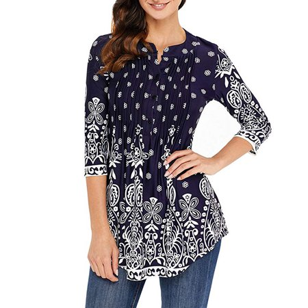 2d173881834 shop vista - Womens Floral Tunic Tops with 3/4 Sleeves - Long Casual Floral  Shirt Blouse with Round Neck – Buttons up Top Shirt - Walmart.com