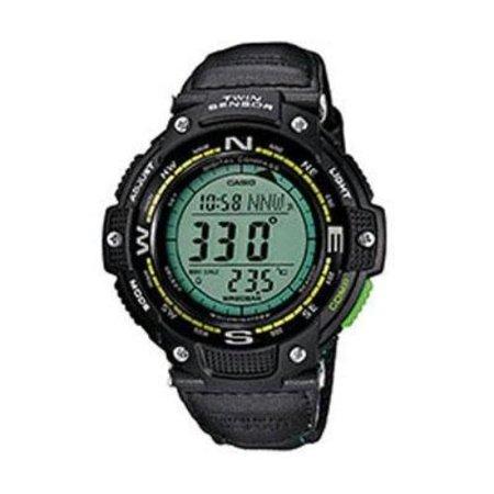Temp Compass Mens Watch - Casio Men's Twin Sensor Compass Watch, Green Nylon Strap