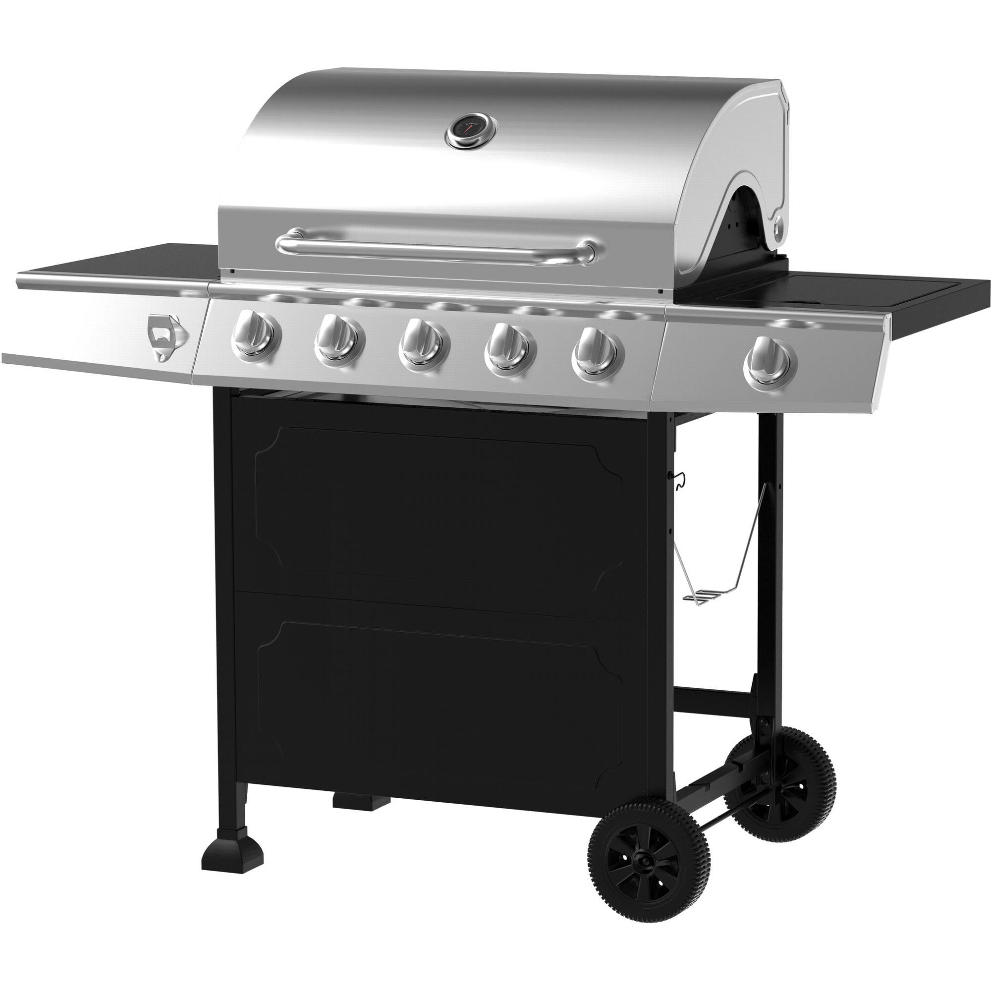 5-Burner Gas Grill, Stainless Steel Black by
