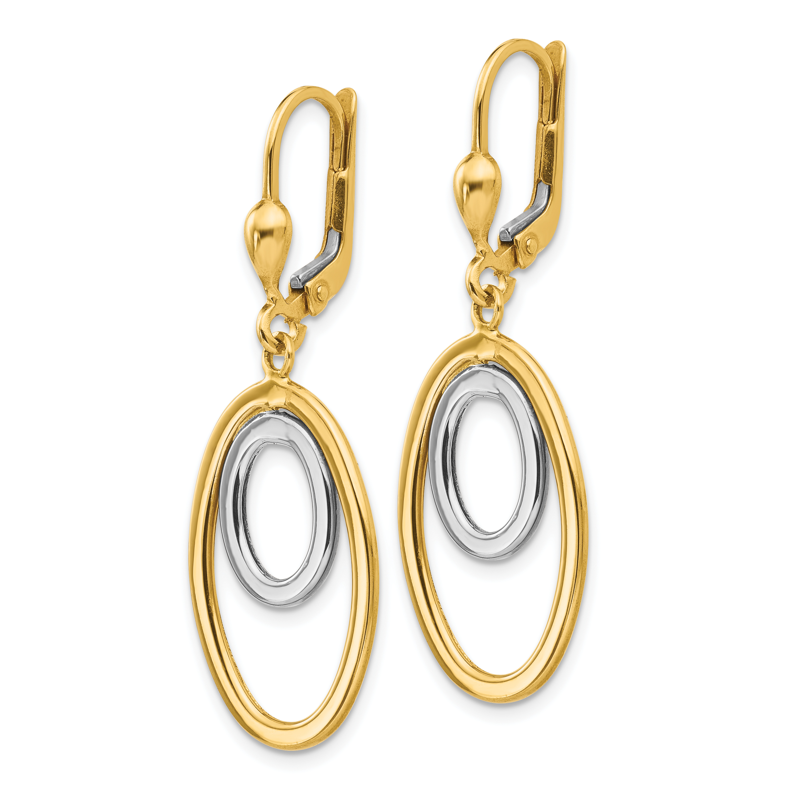 Leslie's 14k Two-tone Polished Dangle Leverback Earrings LE675 - image 1 de 2
