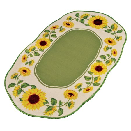 Yellow Sunflower Delight Scalloped Border Rug with Solid Green Center and Skid-Resistant Backing