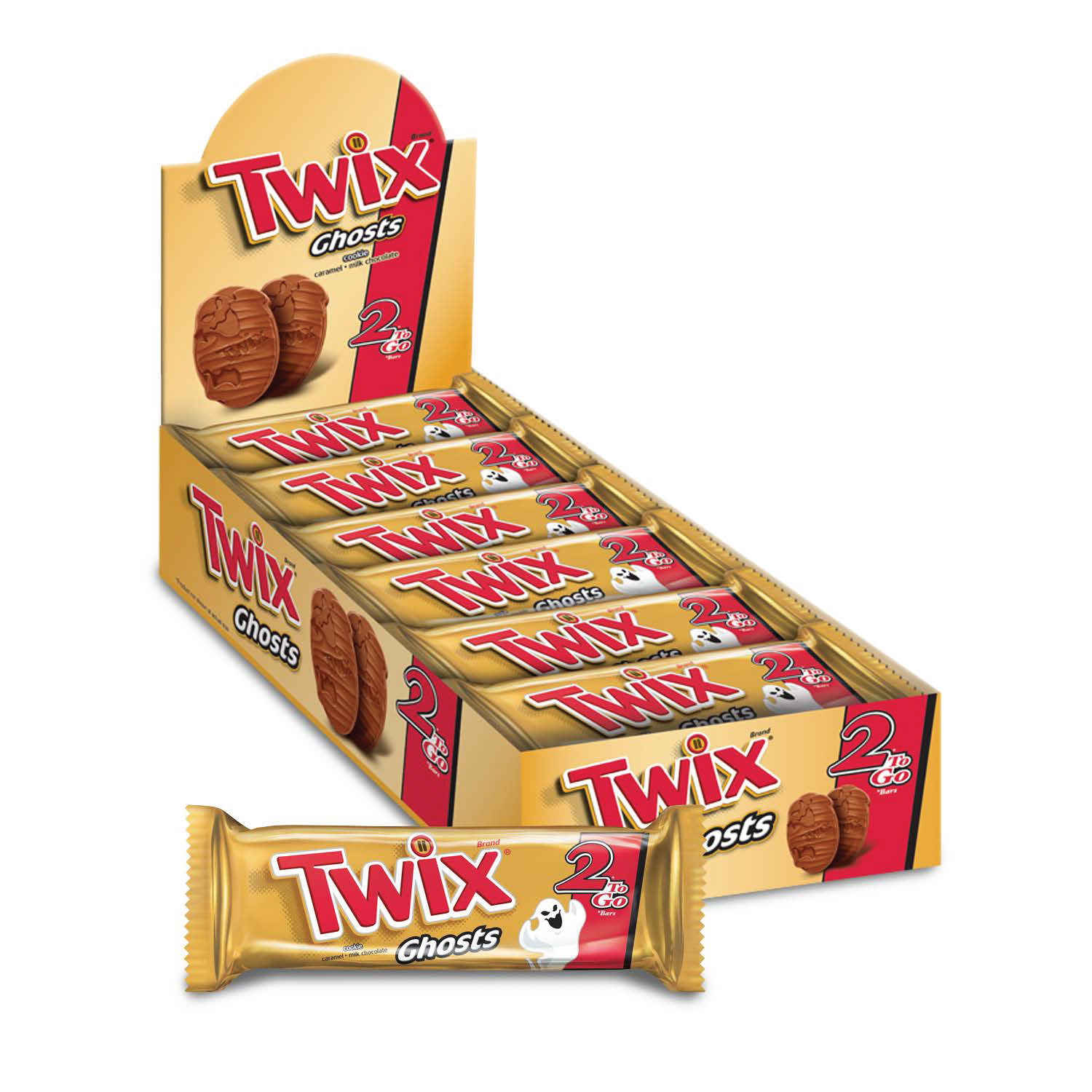 Twix, Ghosts 2-To-Go Chocolate Singles Cookies, 2.12 Oz, 24 Ct