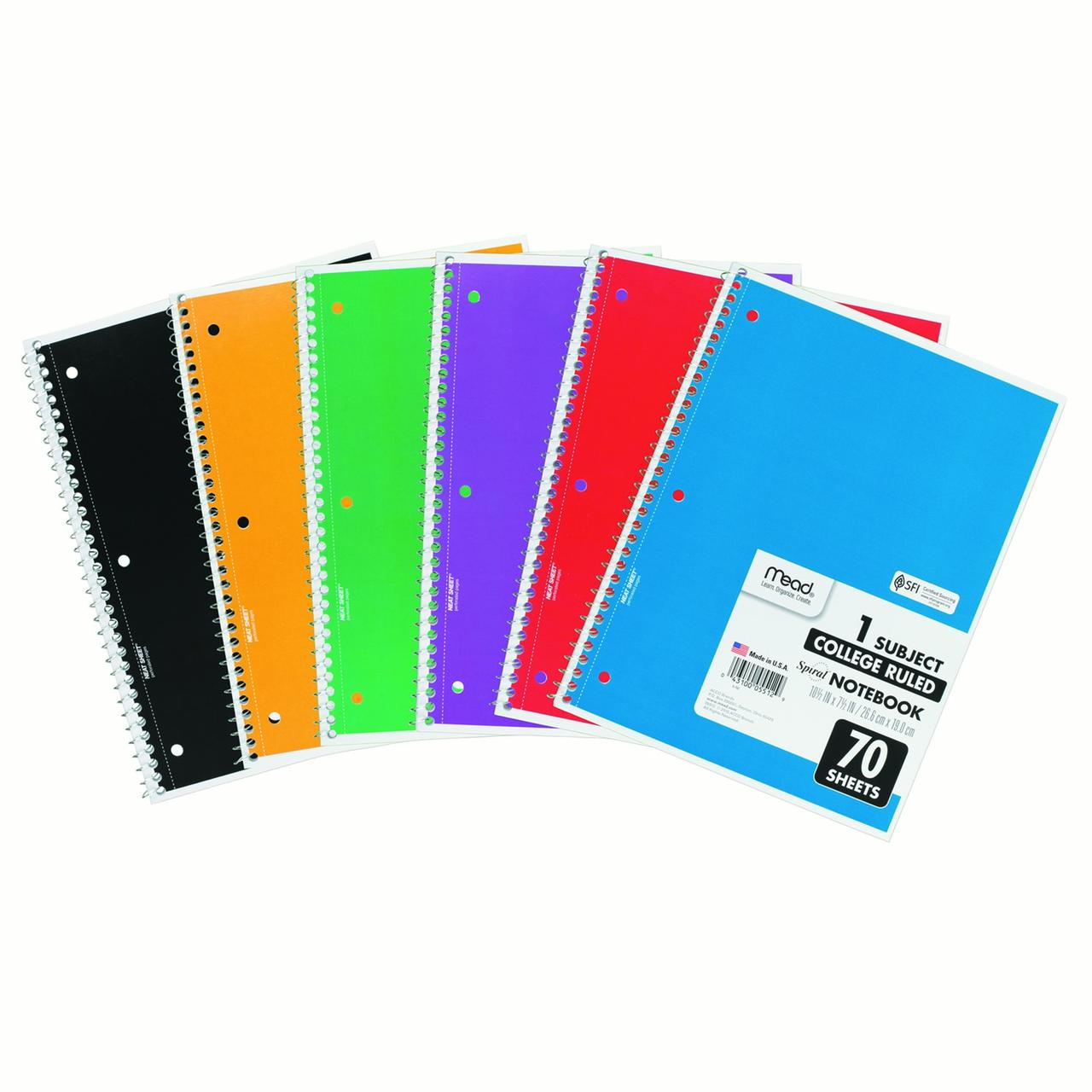 Mead 1-Subject College Ruled Spiral Notebook