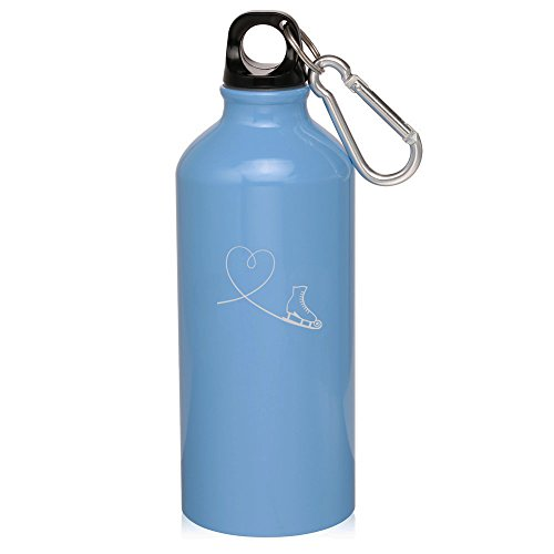 20oz Aluminum Sports Water Bottle Caribiner Clip Heart Love Ice Skating (Light Blue) by