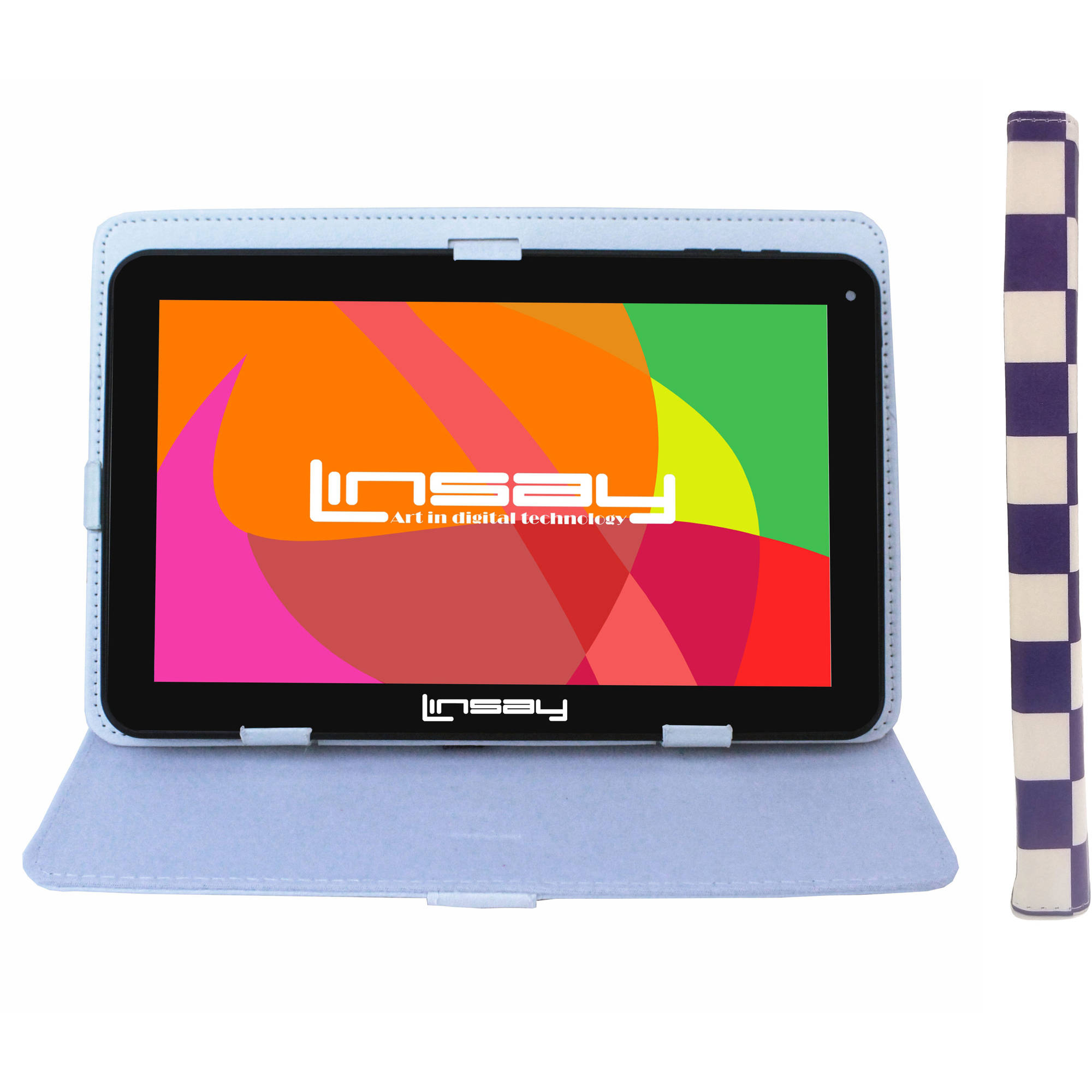 "LINSAY 10.1"" Touchscreen Tablet PC Featuring Android 4.4 (KitKat) Operating System Bundle with Purple Square Case"