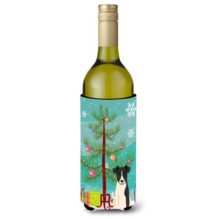 Merry Christmas Tree Smooth Fox Terrier Wine Bottle Beverge Insulator Hugger
