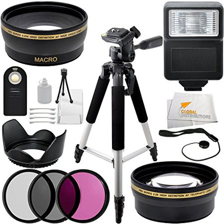 Ultimate 67mm Accessory Package for Nikon D40, D80, D90, D300, D300s. Includes 3PC Filter Kit (UV-CPL-FLD) + 0.43x Wide Angle Lens + 2.2x Telephoto Lens + Digital Slave Flash + Full Size Tripod +