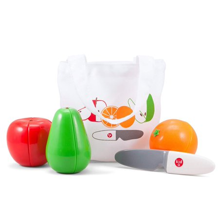 Magnetic Cutting Fruit Play Set, Take the apple, pear and orange out of the shopping bag and cut them up to share with your friends, when you are done, fit them.., By Kid O](Apple Cut Out)