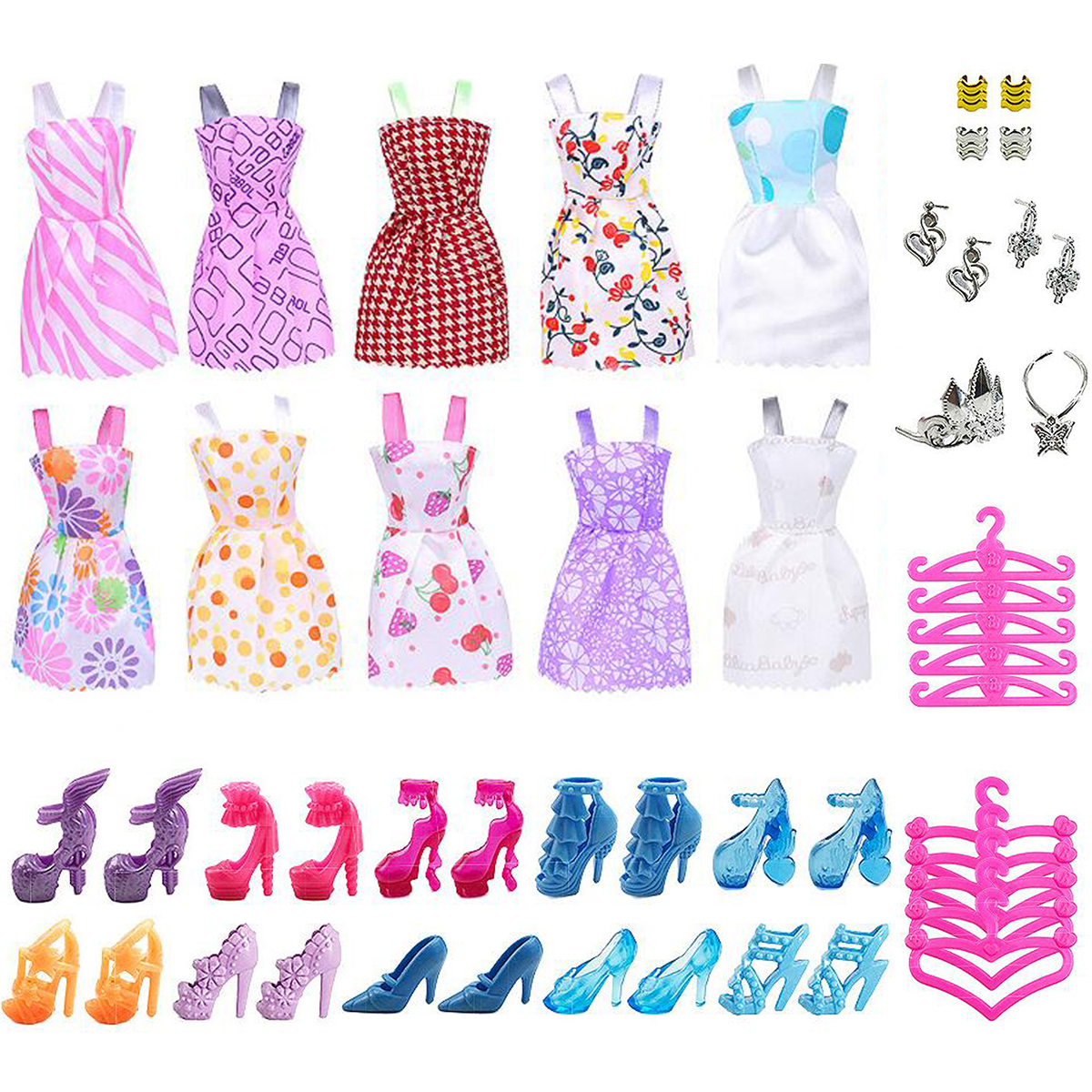 50Pc Dolls Dresses Clothes Skirt Shoes Accessories For Barbie Doll Cute Toy Gift